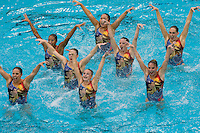 2 February 2008: Erin Bell, Poppy Carlig, Debbie Chen, Taylor Durand, Melissa Knight, Gayle Lee, Corrine Smith, and Courtenay Stewart during Stanford's 90-69 win over Alabama-Birmingham at the Avery Aquatic Center in Stanford, CA.