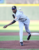 Louisville Bats Pitcher Aroldis Chapman (51) during a game vs. the Rochester Red Wings Friday, May 14, 2010 at Frontier Field in Rochester, New York.   Rochester defeated Louisville by the score of 13-4.  Photo By Mike Janes/Four Seam Images