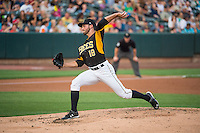 Salt Lake Bees starting pitcher Nate Smith (18) delivers a pitch to the plate against the Iowa Cubs in Pacific Coast League action at Smith's Ballpark on August 21, 2015 in Salt Lake City, Utah. The Bees defeated the Cubs 12-8.  (Stephen Smith/Four Seam Images)