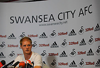 Thursday, 13 September 2012<br /> Pictured: Defender Alan Tate<br /> Re: Swansea City FC press conference at the Liberty Stadium, south Wales.