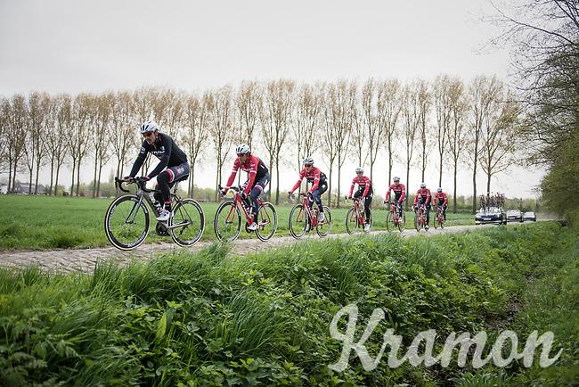 John Degenkolb (DEU/Trek-Segafredo)<br /> <br /> Team Trek-Segafredo at the 2017 Paris-Roubaix recon, 3 days prior to the event.