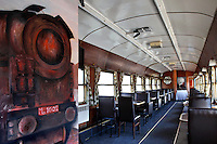 vintage dining room on train wagon..Fifteen years ago, with the occasion of a theatrical screen play which needed a stage, wagons of old trains were renovated and formed into vintage luxury showrooms, a hall theatre and a restaurant.