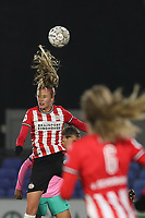 Julie Biesmans (20 PSV) heads the ball during a female soccer game between PSV Eindhoven Vrouwen and Barcelona, in the round of 32, 1st leg of Uefa Womens Champions League of the 2020 - 2021 season , Wednesday 9th of December 2020  in , Eindhoven, the Netherlands. PHOTO SPORTPIX.BE | SPP | SEVIL OKTEM