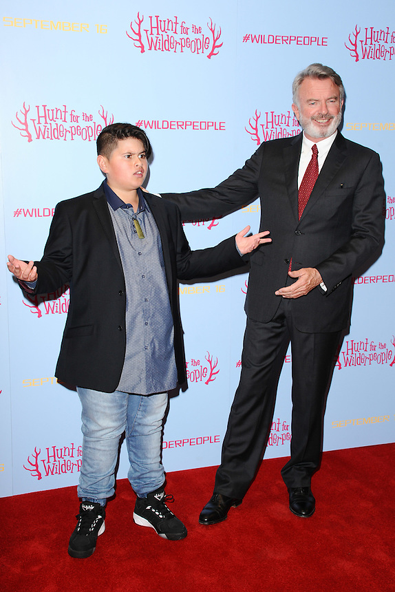 """Julian Dennison and Sam Neill<br /> at the """"Hunt for the Wilder People"""" premiere, Picturehouse Central, London.<br /> <br /> <br /> ©Ash Knotek  D3153  13/09/2016"""