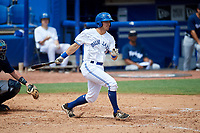 Dunedin Blue Jays third baseman Nash Knight (35) follows through on a swing during a game against the Lakeland Flying Tigers on May 27, 2018 at Dunedin Stadium in Dunedin, Florida.  Lakeland defeated Dunedin 2-1.  (Mike Janes/Four Seam Images)