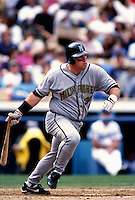 Bob Hamlin of the Milwaukee Brewers participates in a Major League Baseball game at Dodger Stadium during the 1998 season in Los Angeles, California. (Larry Goren/Four Seam Images)
