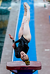 February 19, 2021: Towson University's Lauren Bolen competes in the vault during the 2nd Annual George McGinty Alumni Meet at the SECU Arena at Towson University in Towson, Maryland. Scott Serio/Eclipse Sportswire/CSM