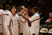 25 February 2006: Krista Rappahahn and Candice Wiggins and Cissy Pierce during Stanford's 78-47 win over the Washington State Cougars at Maples Pavilion in Stanford, CA.