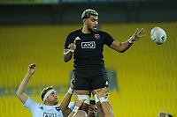 Hoskins Sotutu takes lineout ball during the rugby match between North and South at Sky Stadium in Wellington, New Zealand on Saturday, 5 September 2020. Photo: Dave Lintott / lintottphoto.co.nz