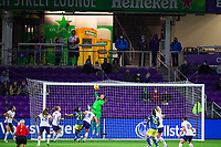 ORLANDO, FL - JANUARY 18: Allysa Naeher #1 of the USWNT makes a save during a game between Colombia and USWNT at Exploria Stadium on January 18, 2021 in Orlando, Florida.