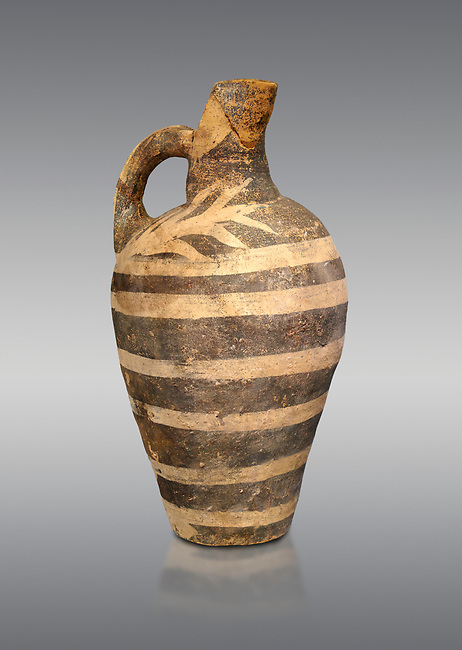 Minoan decorated Kamares  style jug with comncentric ring pattern, Poros cemetery 1800-1650 BC; Heraklion Archaeological  Museum, grey background.