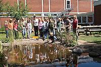 Grundschulklasse, Schulklasse im Schulgarten an ihrem selbst angelegtem Schulteich, Schul-Teich, Gartenteich, Garten-Teich, Kinder keschern und beobachten Tiere und Pflanzen am Teich, Exkursion am Teich, Biologie-Unterricht im Freien, Grünes Klassenzimmer