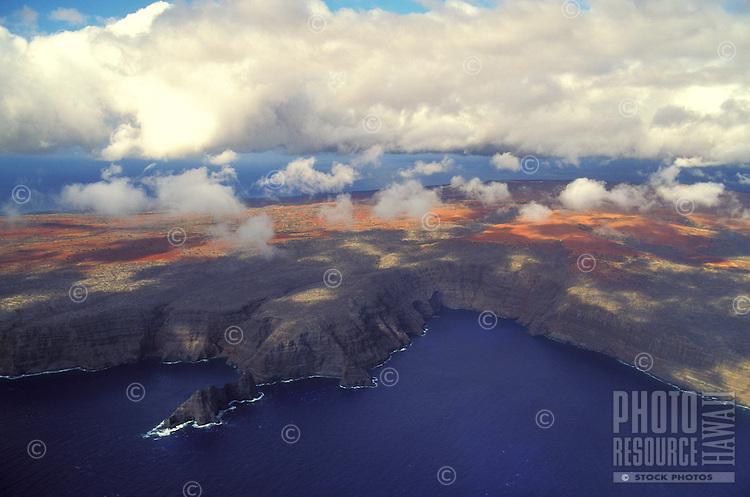 Aerial view of Kamohio on the island of Kahoolawe, Hawaii
