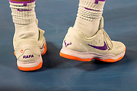 13th February 2021, Melbourne, Victoria, Australia; Rafael Nadal of Spain sports his personalised shoes during round 3 of the 2021 Australian Open on February 13 2020, at Melbourne Park in Melbourne, Australia.