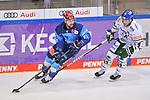 David Elsner (Nr.61 - ERC Ingolstadt) und T.J. Trevelyan (Nr.24 - Augsburger Panther) beim Spiel in der Gruppe Sued der DEL, ERC Ingolstadt (dunkel) - Augsburger Panther (hell).<br /> <br /> Foto © PIX-Sportfotos *** Foto ist honorarpflichtig! *** Auf Anfrage in hoeherer Qualitaet/Aufloesung. Belegexemplar erbeten. Veroeffentlichung ausschliesslich fuer journalistisch-publizistische Zwecke. For editorial use only.