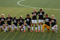 HERRIMAN, UT - JULY 17: Utah Royals FC kneels during national anthem during a game between Utah Royals FC and Houston Dash at Zions Bank Stadium on July 17, 2020 in Herriman, Utah.