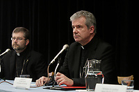 Cardinal Jean-Claude Turcotte (R) introduce his successor  as new Montreal's archibishop Christian Lepine, to the medias, March 21,2012.<br /> <br /> File Photo : Agence Quebec Presse