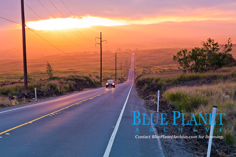 State Route 190, Hawaii Belt Road, Mamalahoa Highway, Parker Ranch, Waimea, Big Island, Hawaii, USA
