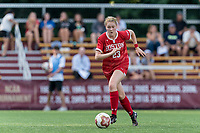 NEWTON, MA - AUGUST 29: Kate Collins of Boston University dribbles at midfield during a game between Boston University and Boston College at Newton Campus Field on August 29, 2019 in Newton, Massachusetts.