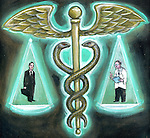 Illustration of doctor and insurance agent with medical cross symbol