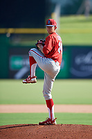 Philadelphia Phillies pitcher Kevin Gowdy (34) delivers a pitch during a Florida Instructional League game against the New York Yankees on October 12, 2018 at Spectrum Field in Clearwater, Florida.  (Mike Janes/Four Seam Images)