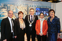 NO FEE PICTURES.25/1/13 Maureen Ledwith, Director Holiday World, Lord Mayor of Dublin is Naoise Ó Muirí and Clare Dunne, President ITAA with Ron Isreal and Naama Oryan Kaplan at the Holiday World Show at the RDS, Dublin. Picture:Arthur Carron/Collins