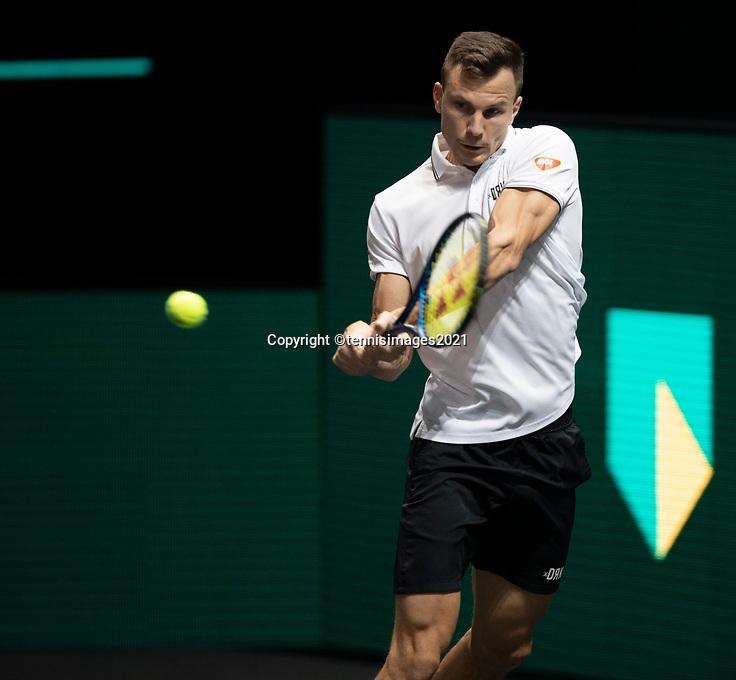 Rotterdam, The Netherlands, 28 Februari 2021, ABNAMRO World Tennis Tournament, Ahoy, First round match: Marton Fucsovics (HUN).<br /> Photo: www.tennisimages.com