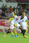 Sevill'as Mbia ight for the ball during the match between Sevilla FC and Villarreal day 9 spanish  BBVA League 2014-2015 day 5, played at Sanchez Pizjuan stadium in Seville, Spain. (PHOTO: CARLOS BOUZA / BOUZA PRESS / ALTER PHOTOS))