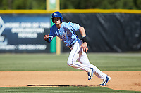 Jackson Lueck (34) of the Burlington Royals takes off for second base against the Greeneville Reds at Burlington Athletic Stadium on July 8, 2018 in Burlington, North Carolina. The Royals defeated the Reds 4-2.  (Brian Westerholt/Four Seam Images)