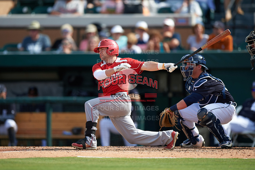 Florida Southern Moccasins second baseman Shawn Sanders (6) at bat during an exhibition game against the Detroit Tigers on February 29, 2016 at Joker Marchant Stadium in Lakeland, Florida.  Detroit defeated Florida Southern 7-2.  (Mike Janes/Four Seam Images)