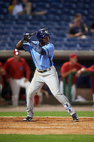 Charlotte Stone Crabs left fielder Bralin Jackson (24) at bat during a game against the Clearwater Threshers on April 12, 2016 at Bright House Field in Clearwater, Florida.  Charlotte defeated Clearwater 2-1.  (Mike Janes/Four Seam Images)