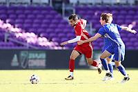 Orlando, Florida - Monday January 15, 2018: Rafael Andrade Santos and Pau Belana. Match Day 2 of the 2018 adidas MLS Player Combine was held Orlando City Stadium.