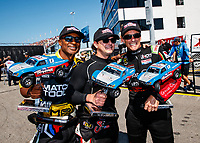Sep 2, 2017; Clermont, IN, USA; NHRA top fuel drivers Antron Brown (left), Steve Torrence (center) and Clay Millican during qualifying for the US Nationals at Lucas Oil Raceway. Mandatory Credit: Mark J. Rebilas-USA TODAY Sports