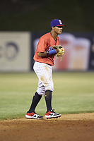 Piedmont Boll Weevils shortstop Lenyn Sosa (2) on defense against the Hickory Crawdads at Kannapolis Intimidators Stadium on May 3, 2019 in Kannapolis, North Carolina. The Boll Weevils defeated the Crawdads 4-3. (Brian Westerholt/Four Seam Images)