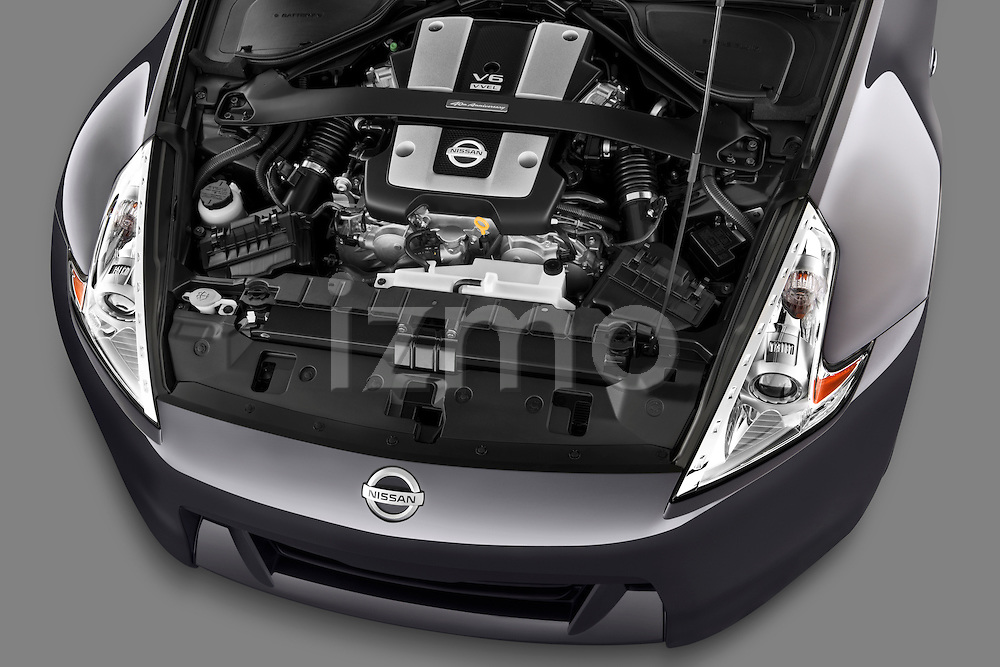 High angle engine detail of a 2010 Nissan 370z 40th Coupe.