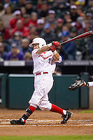 Houston Cougars shortstop Connor Wong (10) follows through on his swing during the NCAA baseball game against the Texas A&M Aggies on March 7, 2015 in the Houston College Classic at Minute Maid Park in Houston, Texas. Texas A&M defeated Houston 6-0. (Andrew Woolley/Four Seam Images)