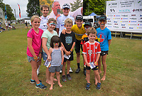 Cyrille Thiery, Theo Gilbertson and Aaron Gate with fans. Circuit of Champions, stage five of the 2019 Grassroots Trust NZ Cycle Classic UCI 2.2 Tour from Cambridge, New Zealand on Sunday, 27 January 2019. Photo: Dave Lintott / lintottphoto.co.nz