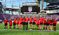 Minneapolis, MN - October 22, 2016: The USWNT trains in preparation for their friendly against Switzerland at U.S. Bank Stadium.