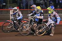 Heat 10: Peter Karlsson (red), Kim Nilsson (blue), Mads Korneliussen (white) and Richie Worrall - Vortex Lakeside Hammers vs Kings Lynn Stars - Sky Sports Elite League Speedway at Arena Essex Raceway, Purfleet - 23/04/13 - MANDATORY CREDIT: Gavin Ellis/TGSPHOTO - Self billing applies where appropriate - 0845 094 6026 - contact@tgsphoto.co.uk - NO UNPAID USE.