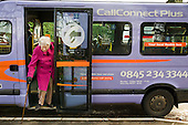 "CallConnect bus in the village of Ewerby, Lincolnshire.  The innovative bus-on-demand service features in the Rural Media Company's ""Over the Hill?"" project."