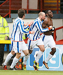 Tope Obadeyi and Jamie Hamill celebrate