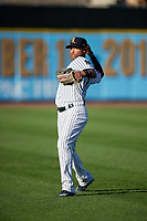 Scranton/Wilkes-Barre RailRiders right fielder Mason Williams (9) during warmups before a game against the Pawtucket Red Sox on May 15, 2017 at PNC Field in Moosic, Pennsylvania.  Scranton defeated Pawtucket 8-4.  (Mike Janes/Four Seam Images)