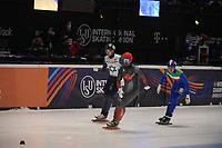 SPEEDSKATING: DORDRECHT: 06-03-2021, ISU World Short Track Speedskating Championships, QF 500m Men, Charles Hamelin (CAN), Luca Spechenhauser (ITA), Vladislav Bykanov (ISR), ©photo Martin de Jong