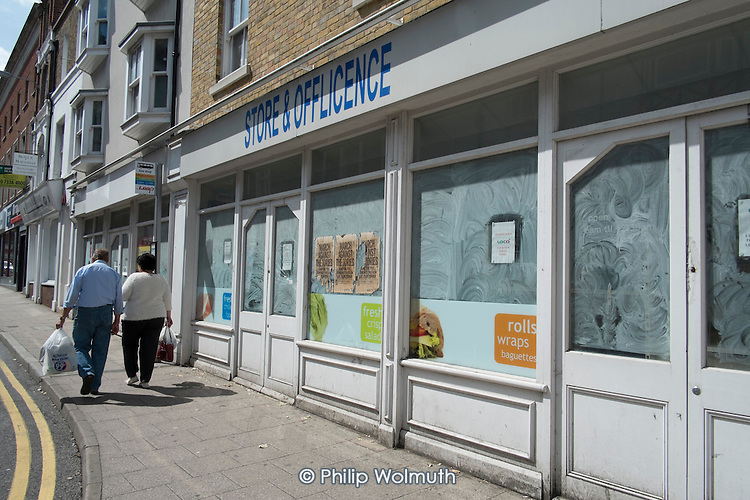 Boarded up shop in the centre of Ramsgate, one of the five most deprived seaside towns in the UK.