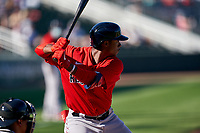 Boston Red Sox Jeter Downs (20) bats during a Major League Spring Training game against the Atlanta Braves on March 7, 2021 at CoolToday Park in North Port, Florida.  (Mike Janes/Four Seam Images)