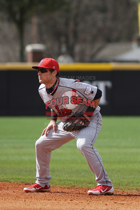 Stony Brook Seawolves infielder Maxx Tissenbaum #6 playing 2nd base during a game against the East Carolina University Pirates at Clark-LeClair Stadium  on March 4, 2012 in Greenville, NC.  East Carolina defeated Stony Brook 4-3. (Robert Gurganus/Four Seam Images)