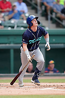 Catcher Alex Holderbach (14) of the Asheville Tourists in a game against the Greenville Drive on Wednesday, June 2, 2021, at Fluor Field at the West End in Greenville, South Carolina. (Tom Priddy/Four Seam Images)