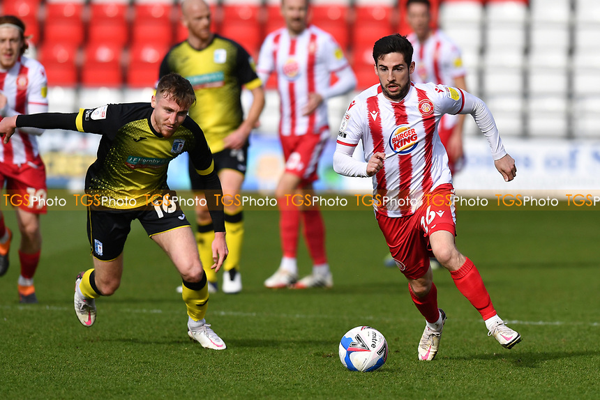 Tom Pett of Stevenage FC and Tom Beadling of Barrow AFC during Stevenage vs Barrow, Sky Bet EFL League 2 Football at the Lamex Stadium on 27th March 2021