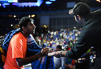 Rohan Bopanna (IND) sighs autographs for fans during Day One of the Barclays ATP World Tour Finals 2015 played at The O2, London on November 15th 2015