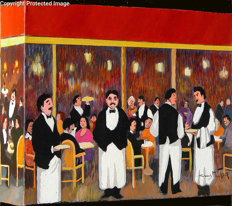 Brasserie<br /> Acrylic on Box Canvas with painted sides.<br /> 11x14x3<br /> $5,900